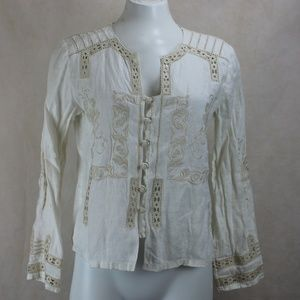 J. Jill 100% Linen Embroidered Peasant Blouse